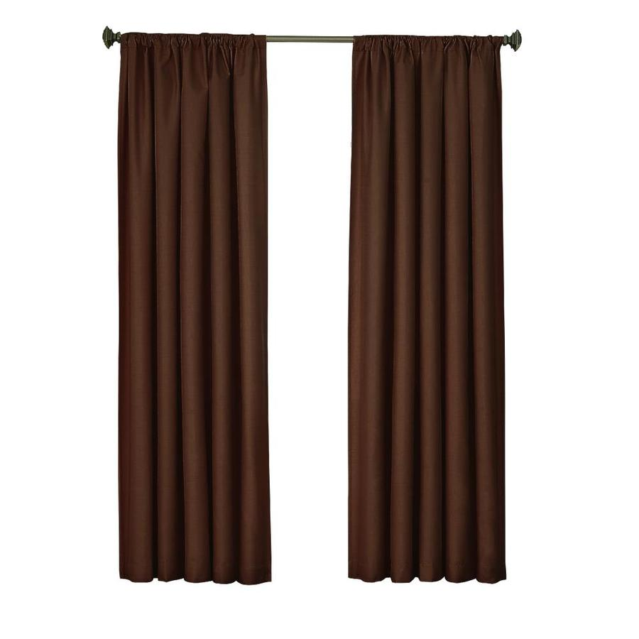 eclipse Kendall 63-in Chocolate Polyester Rod Pocket Single Curtain Panel