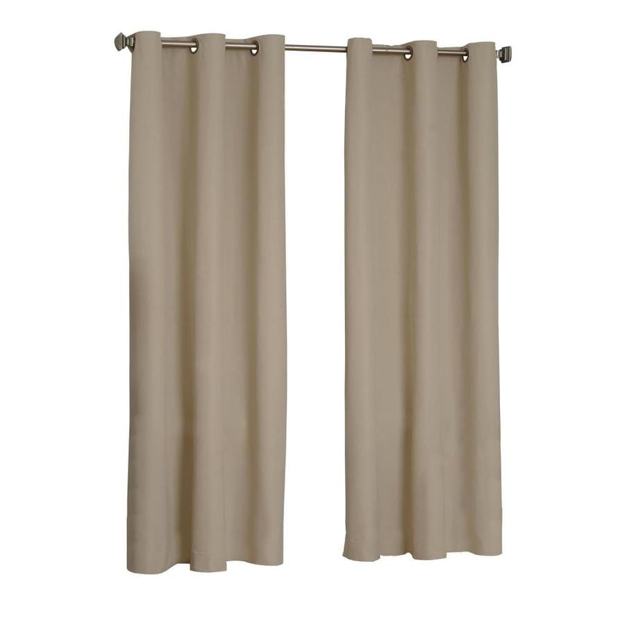 eclipse Microfiber 63-in Beige Polyester Grommet Blackout Single Curtain Panel
