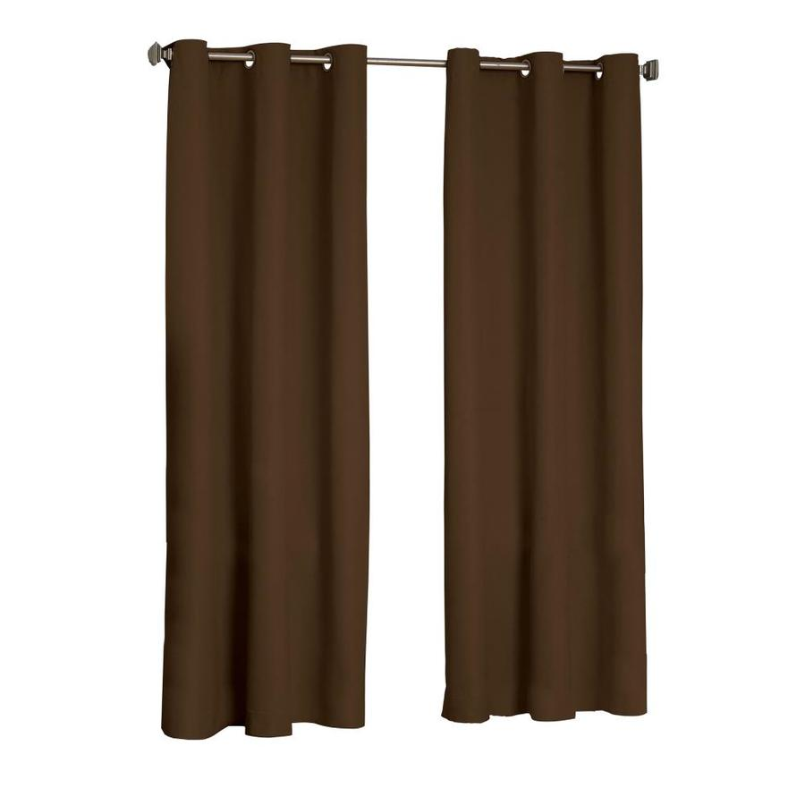 eclipse Microfiber 84-in Chocolate Polyester Grommet Blackout Single Curtain Panel