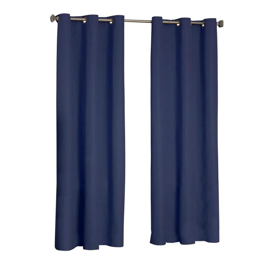 eclipse Microfiber 95-in Navy Polyester Grommet Blackout Single Curtain Panel