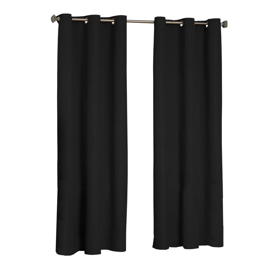 eclipse Microfiber 95-in Black Polyester Grommet Blackout Single Curtain Panel