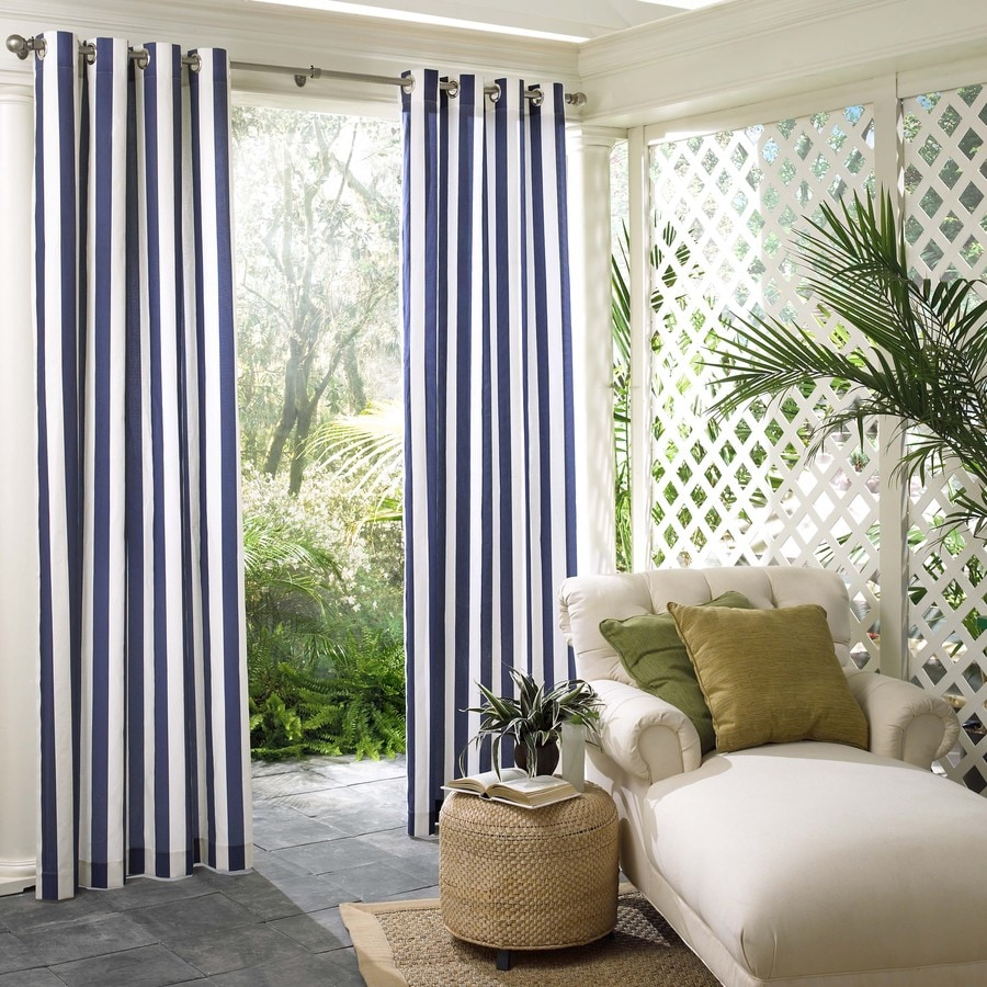 PARASOL 108 In L Navy Circus Stripe Outdoor Window Curtain Panel
