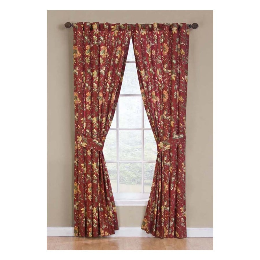Waverly Felicite 84 In Crimson Cotton Back Tab Single Curtain Panel