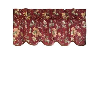 Home Clics 16 In Crimson Cotton Rod Pocket Valance