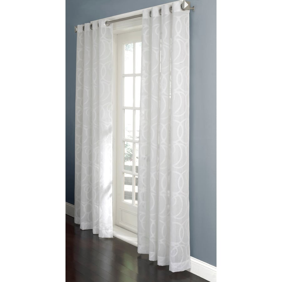 Allen Roth Anaheim Sheer 84 In L Geometric White Grommet  Allen Roth Curtains