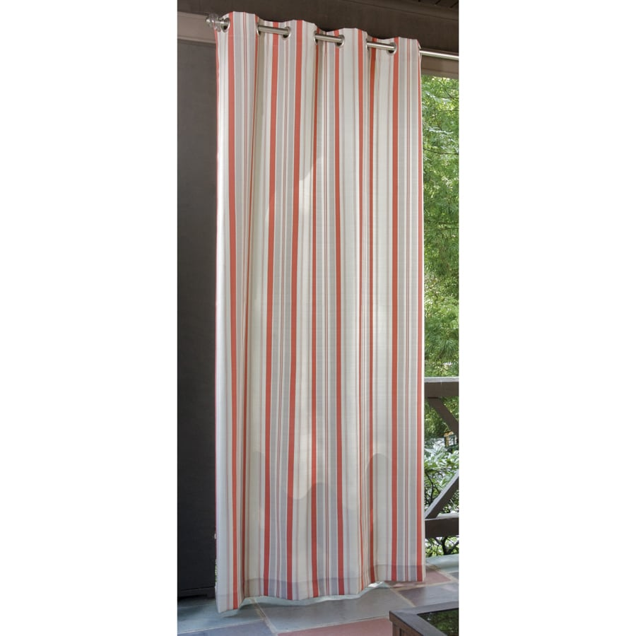 Allen + Roth 96-in L Coral-Cream Patio Curtains Outdoor