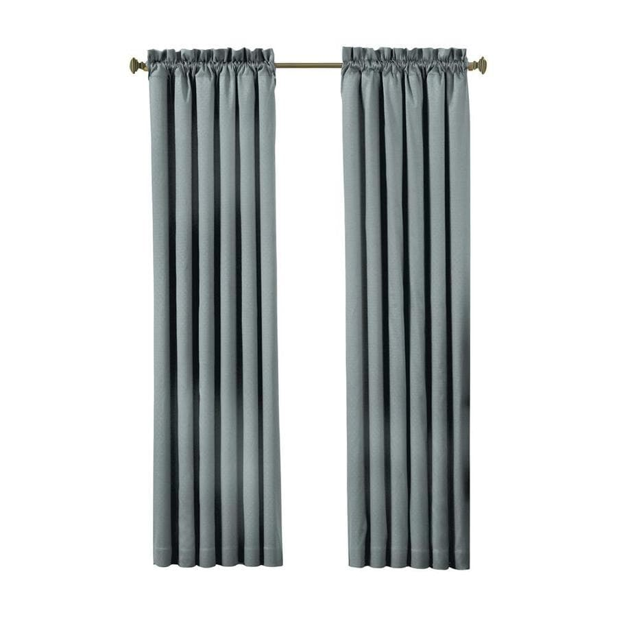 eclipse Canova 95-in River Blue Polyester Rod Pocket Blackout Single Curtain Panel