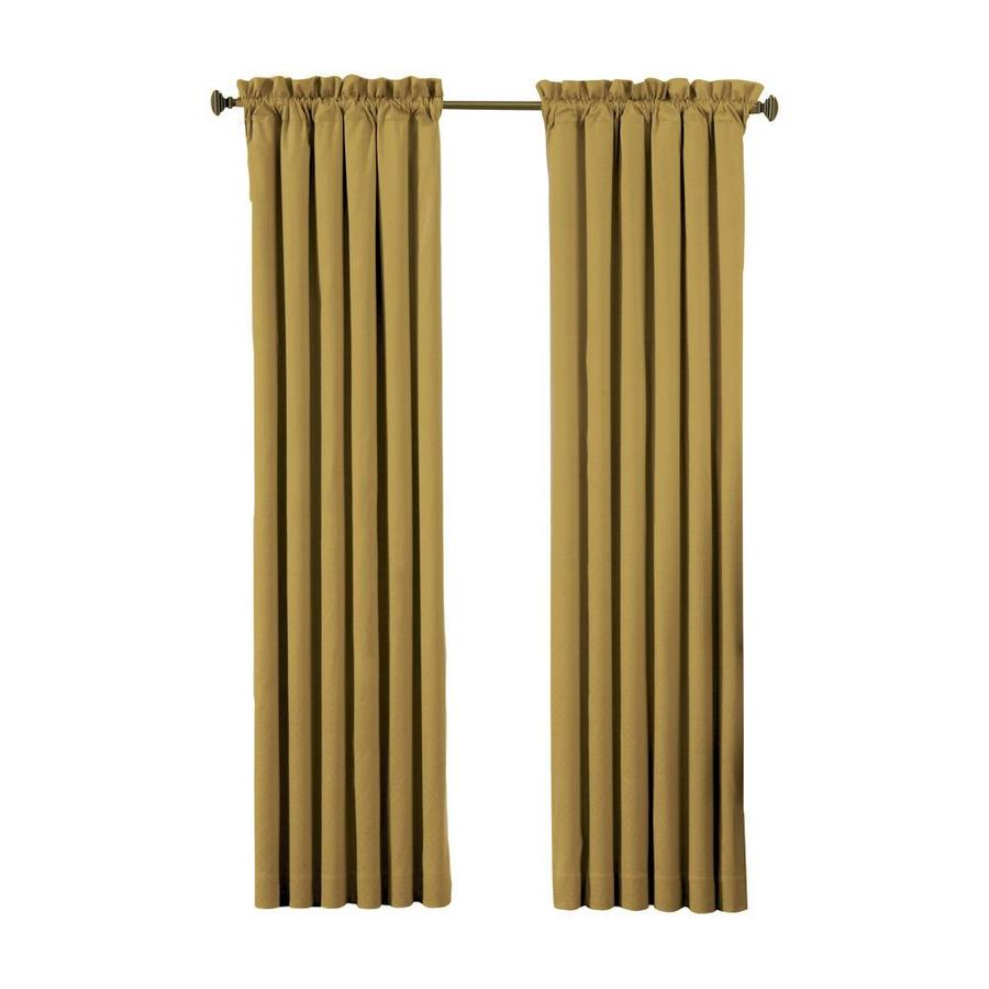 eclipse Canova 95-in Gold Polyester Rod Pocket Blackout Single Curtain Panel