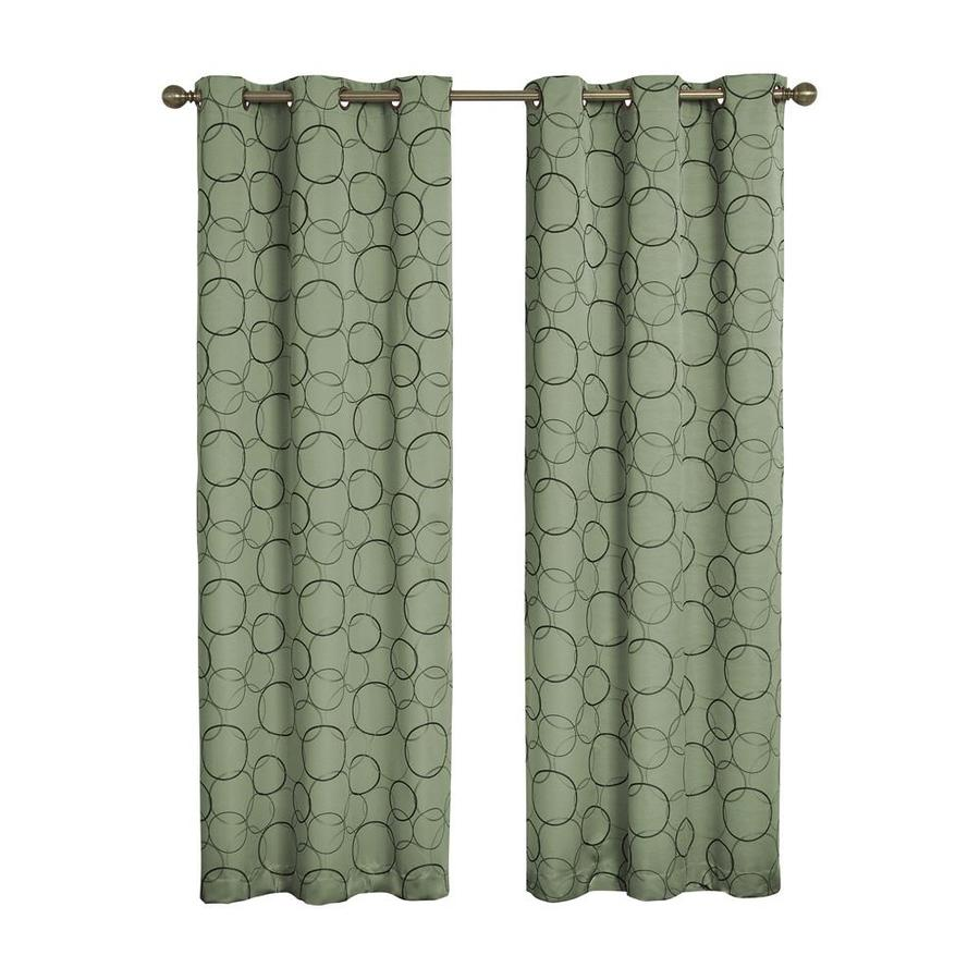 eclipse Meridian 95-in Sage Polyester Grommet Blackout Single Curtain Panel