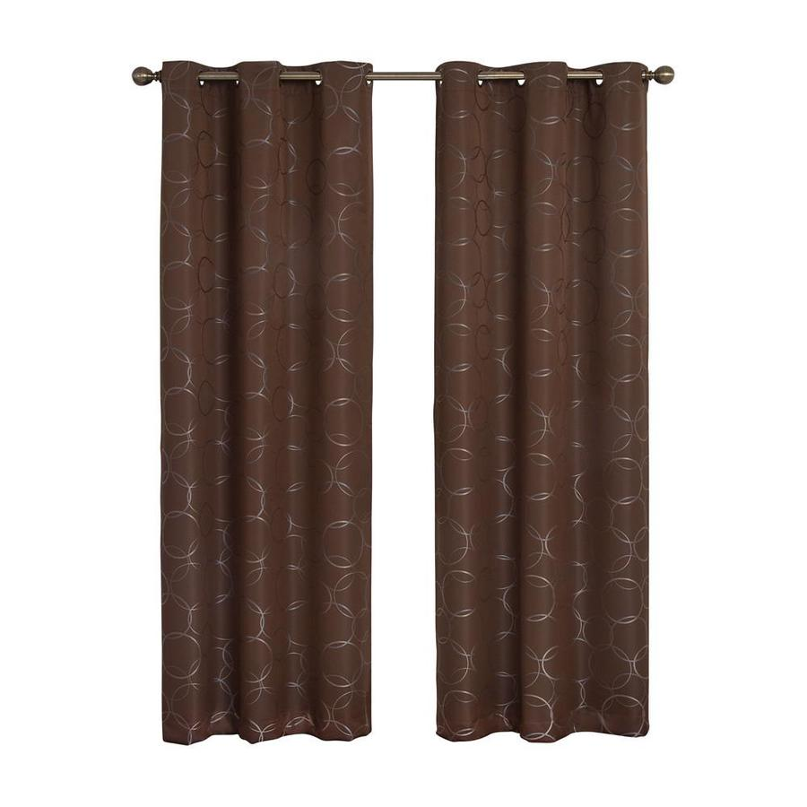 eclipse Meridian 95-in Chocolate Polyester Grommet Blackout Single Curtain Panel
