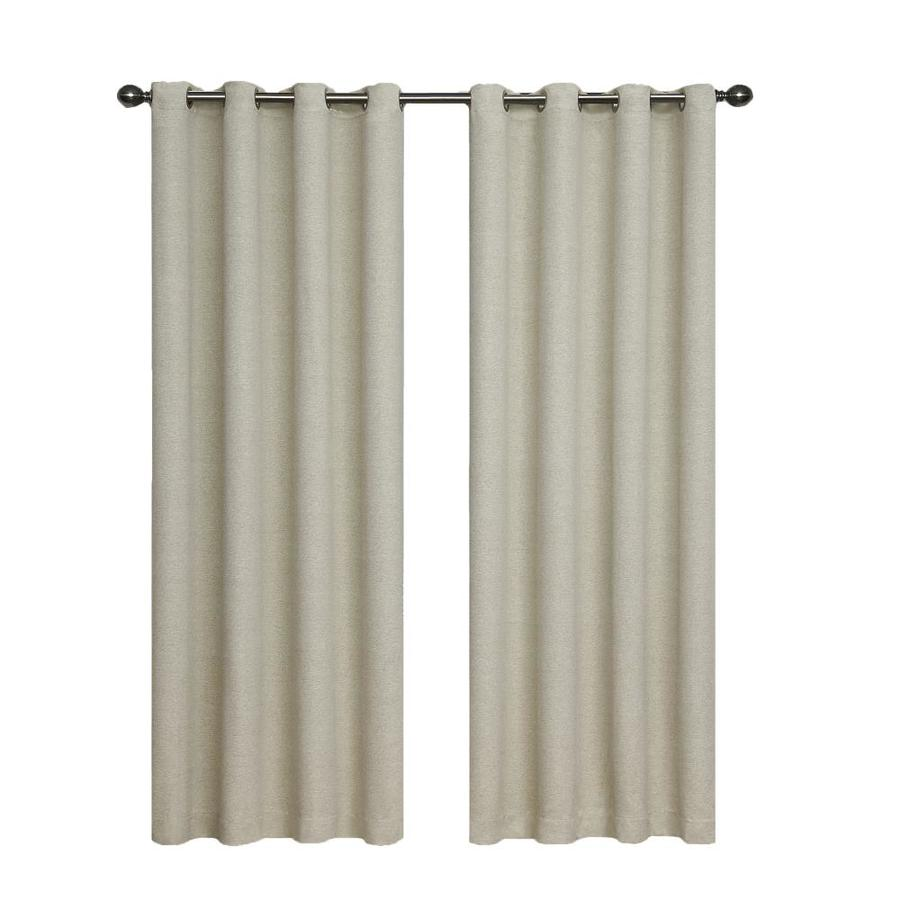 eclipse Bobbi 95-in Ivory Polyester Grommet Single Curtain Panel