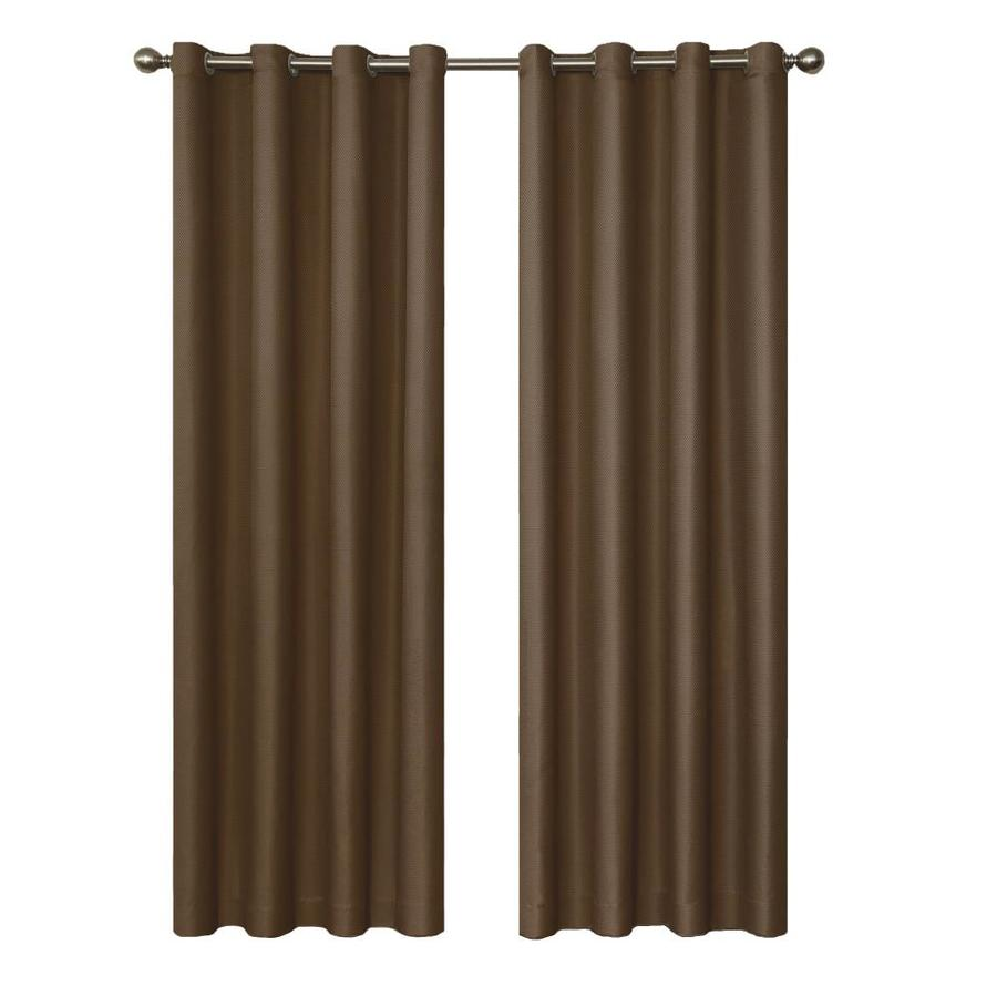 eclipse Dane 95-in Chocolate Polyester Grommet Blackout Single Curtain Panel