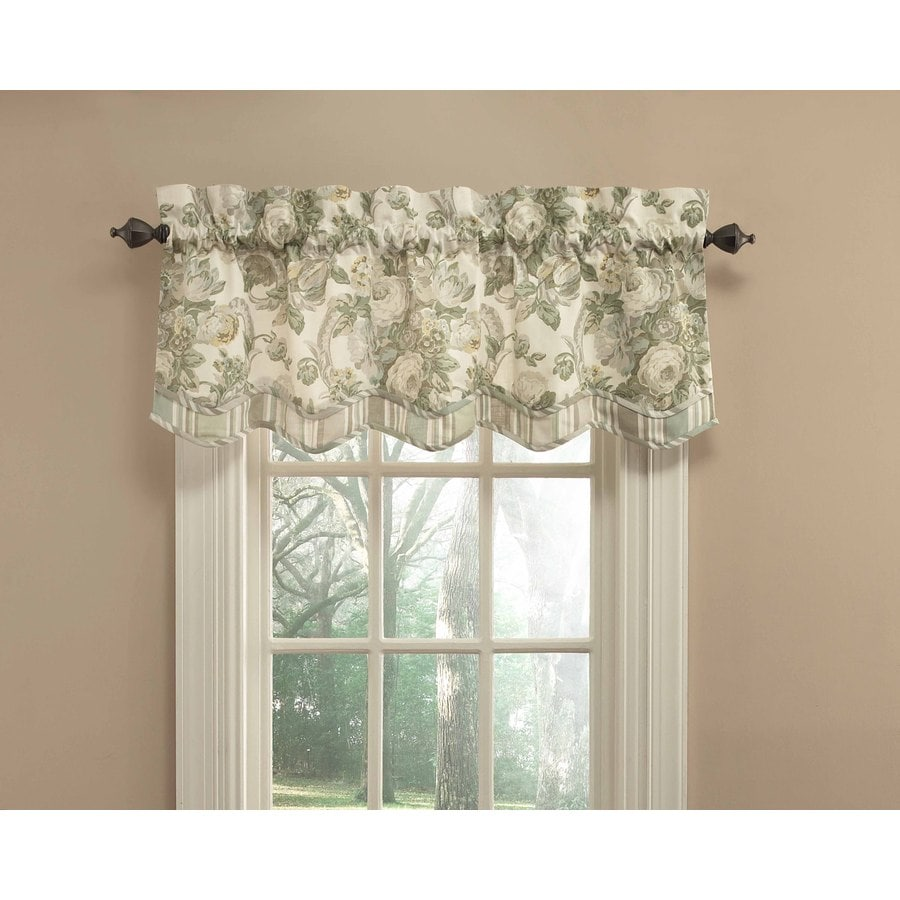 Shop waverly spring bling 18 in platinum cotton back tab for Window valance