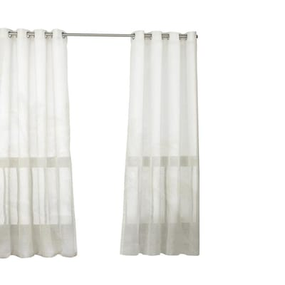 Ivory Polyester Sheer Single Curtain