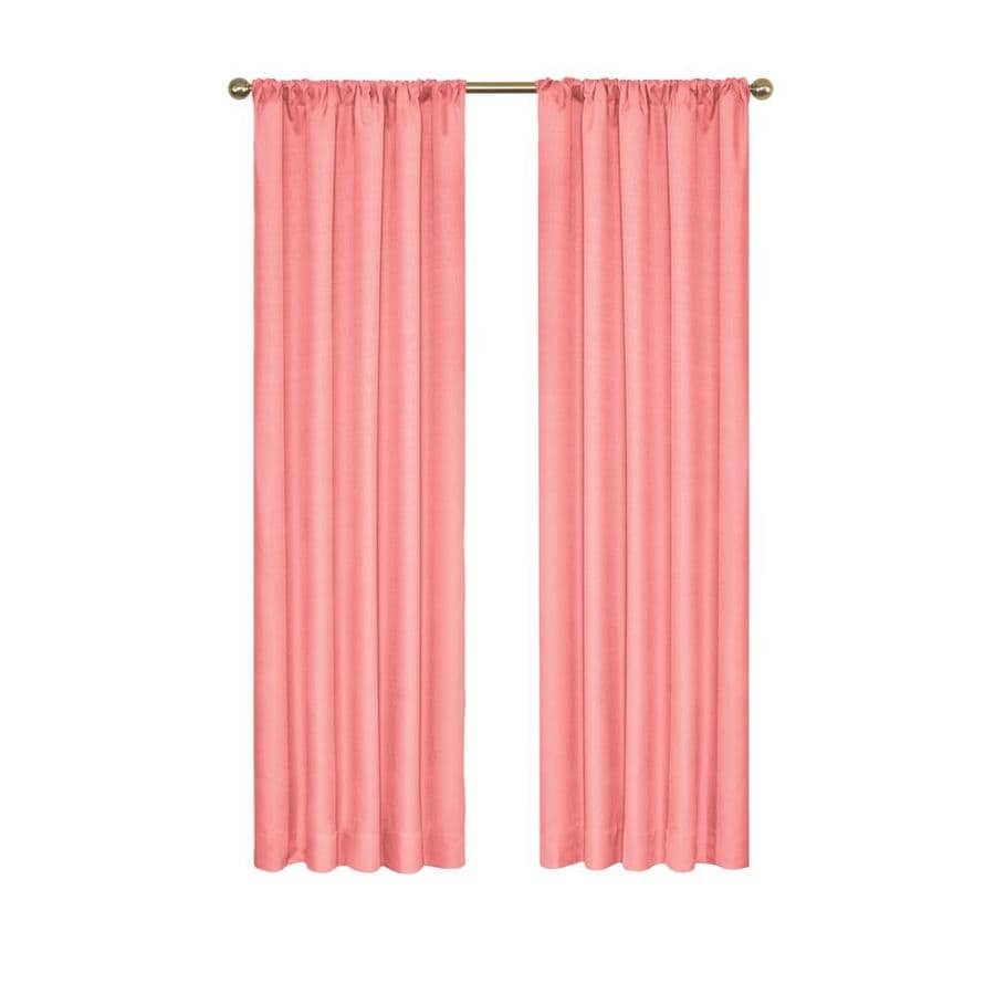 Eclipse Kendall 63 In Coral Polyester Rod Pocket Blackout Single Curtain Panel