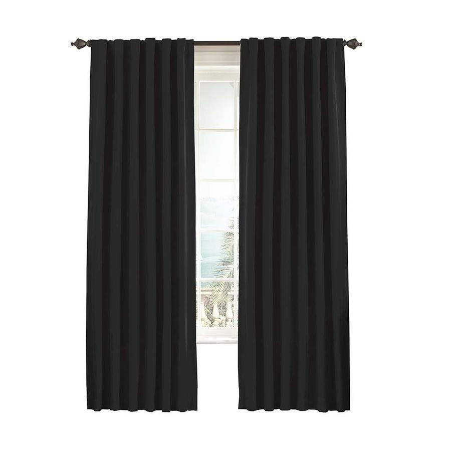 eclipse Fresno 95-in Black Polyester Rod Pocket Single Curtain Panel