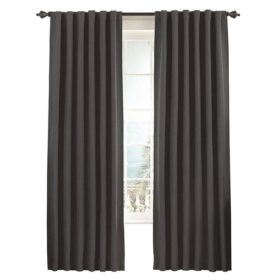eclipse Fresno 95-in Charcoal Polyester Rod Pocket Single Curtain Panel
