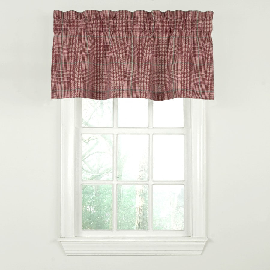 Waverly Grantham Plaid 18-in Red Cotton Rod Pocket Valance