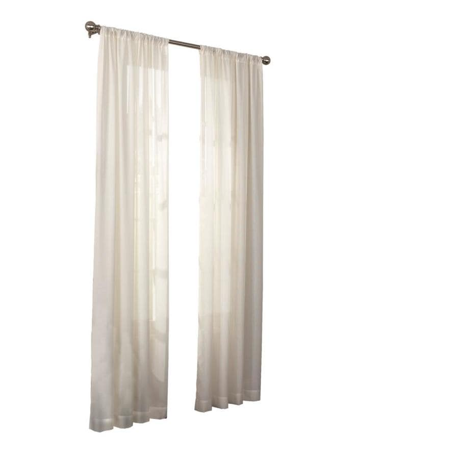 Eclipse Chelsea 108 In Ivory Polyester Rod Pocket Sheer Single Curtain Panel