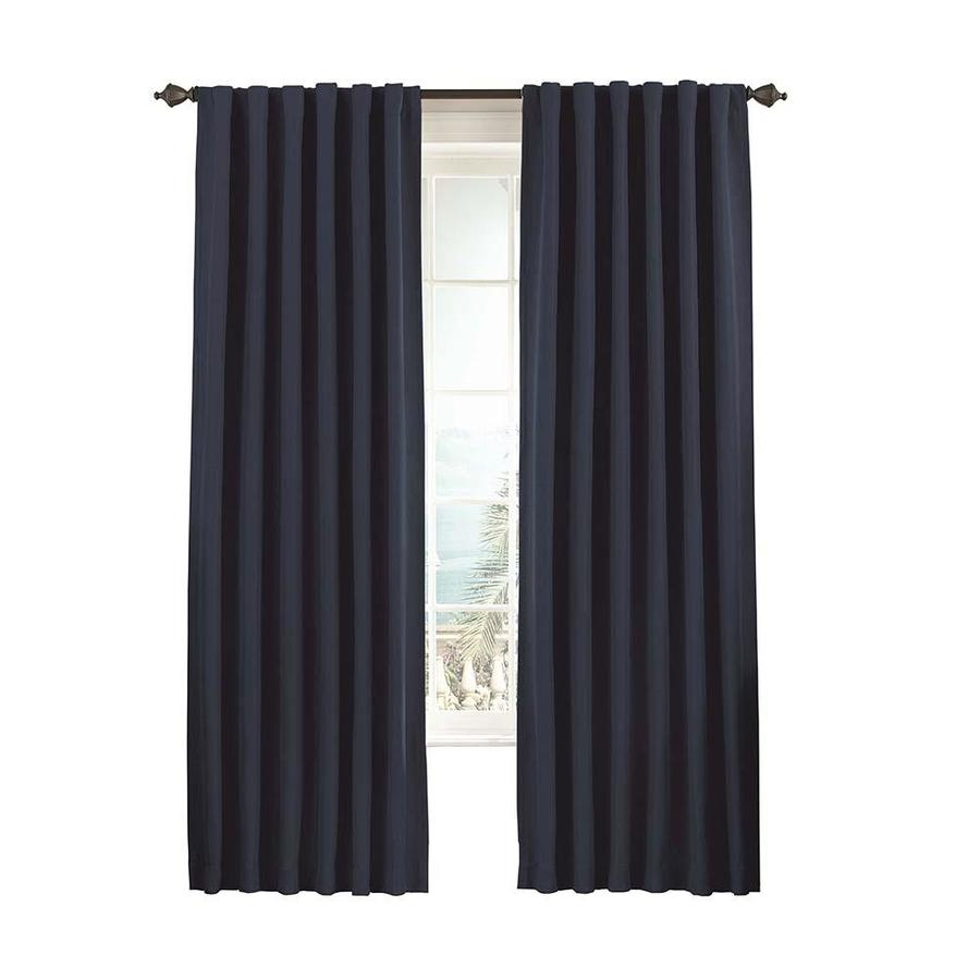 eclipse Fresno 108-in Dark Blue Polyester Rod Pocket Single Curtain Panel