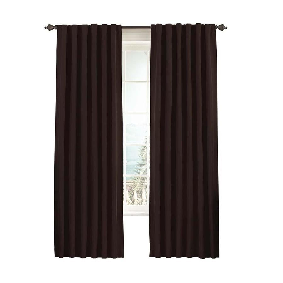 eclipse Fresno 108-in Espresso Polyester Rod Pocket Single Curtain Panel