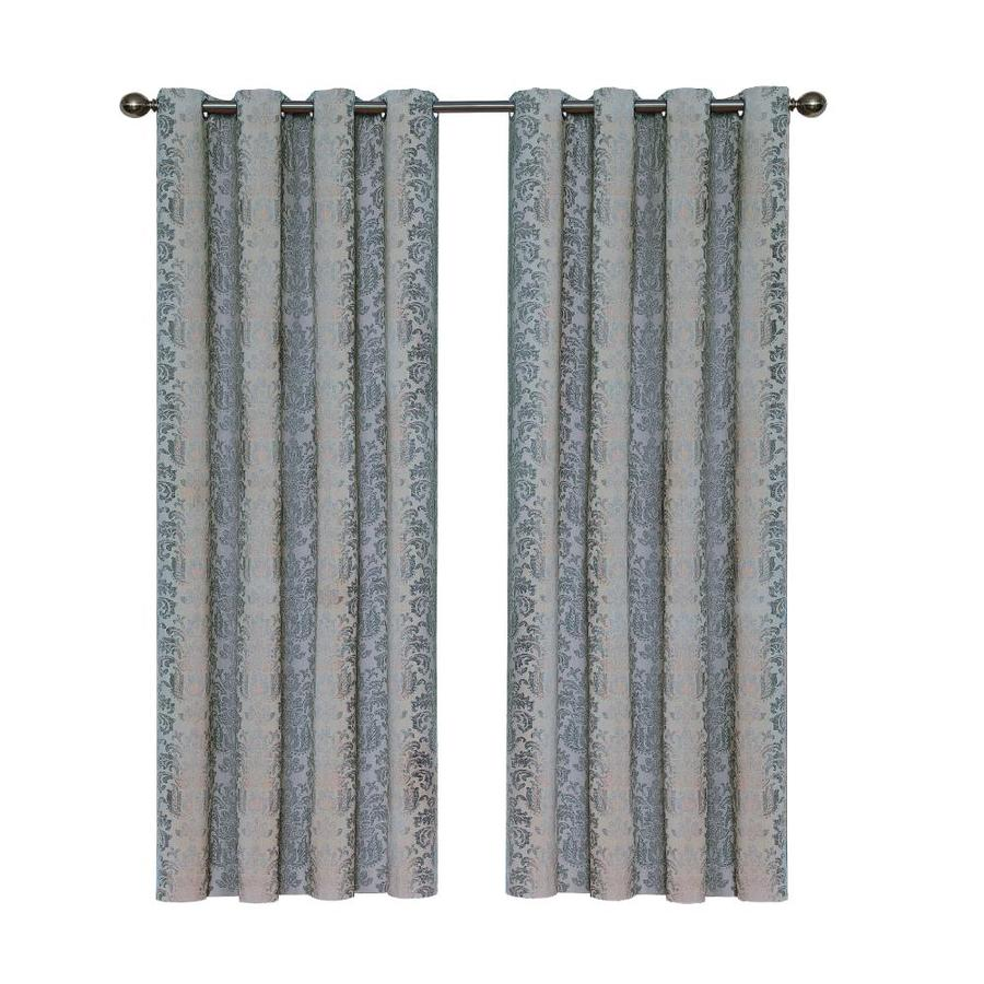 Eclipse Nadya 108 In Smokey Blue Cotton Grommet Blackout Thermal Lined Single Curtain Panel