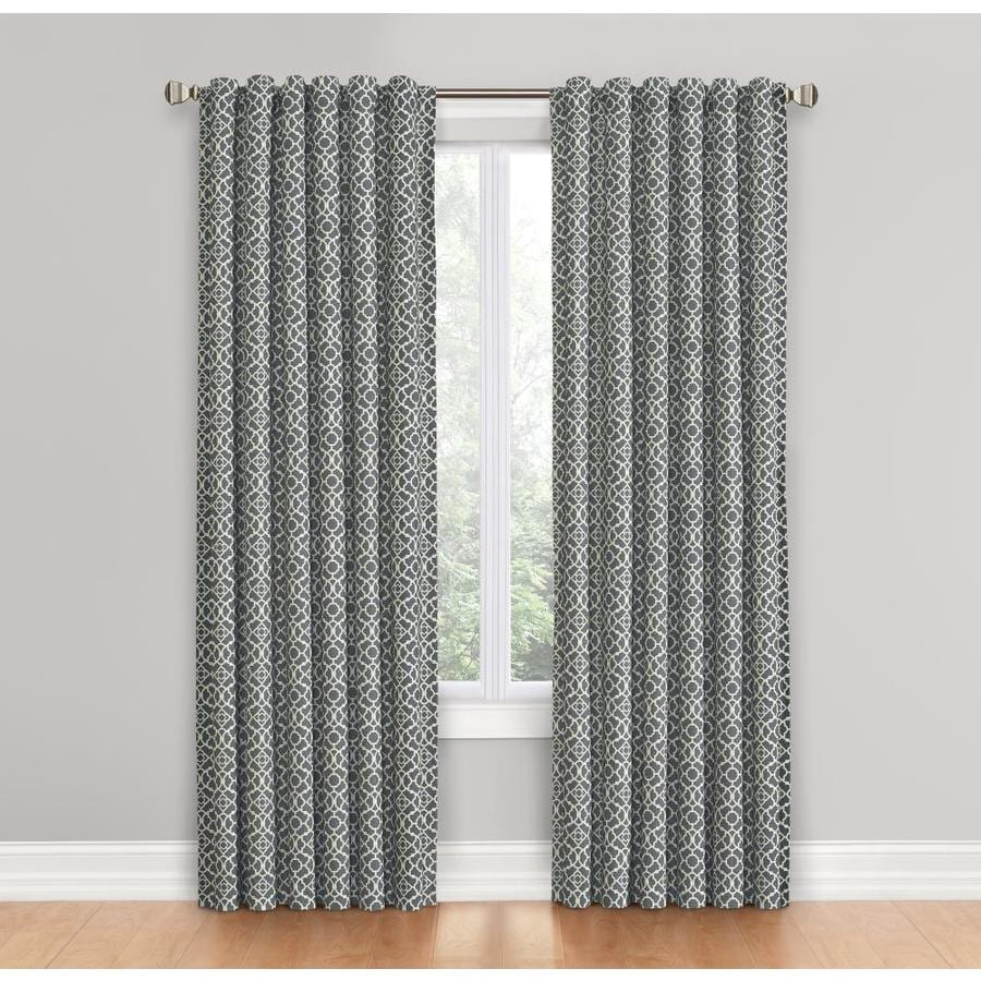 stunning Waverly Lovely Lattice Curtain Part - 1: Waverly Lovely Lattice 84-in Gray Cotton Back Tab Single Curtain Panel