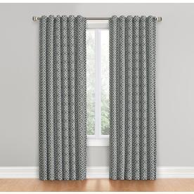 Waverly Lovely Lattice 84 In Gray Cotton Back Tab Single Curtain Panel