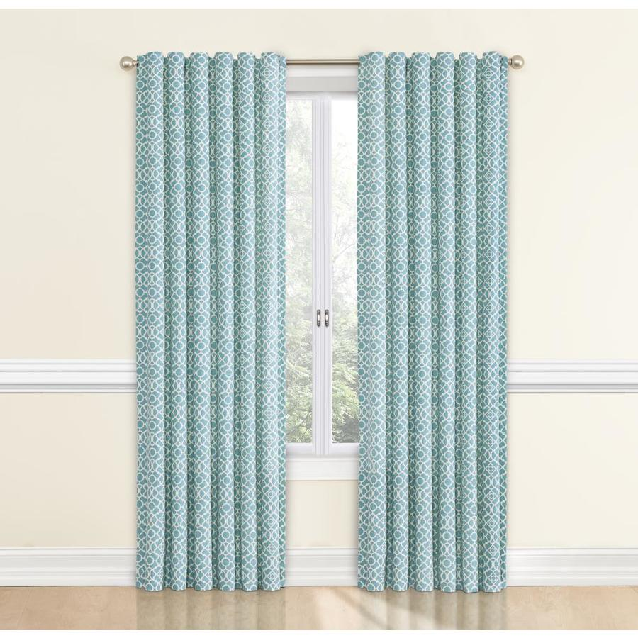 incredible Waverly Lovely Lattice Curtain Part - 3: Waverly Lovely Lattice 84-in Aqua Cotton Back Tab Single Curtain Panel