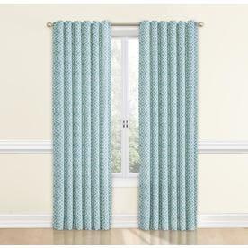 Waverly Lovely Lattice 84-in Aqua Cotton Single Curtain Panel