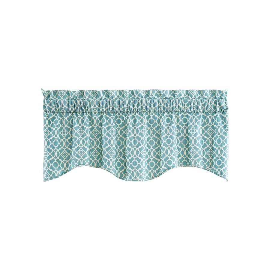 Waverly Lovely Lattice 16 In Aqua Cotton Rod Pocket Valance