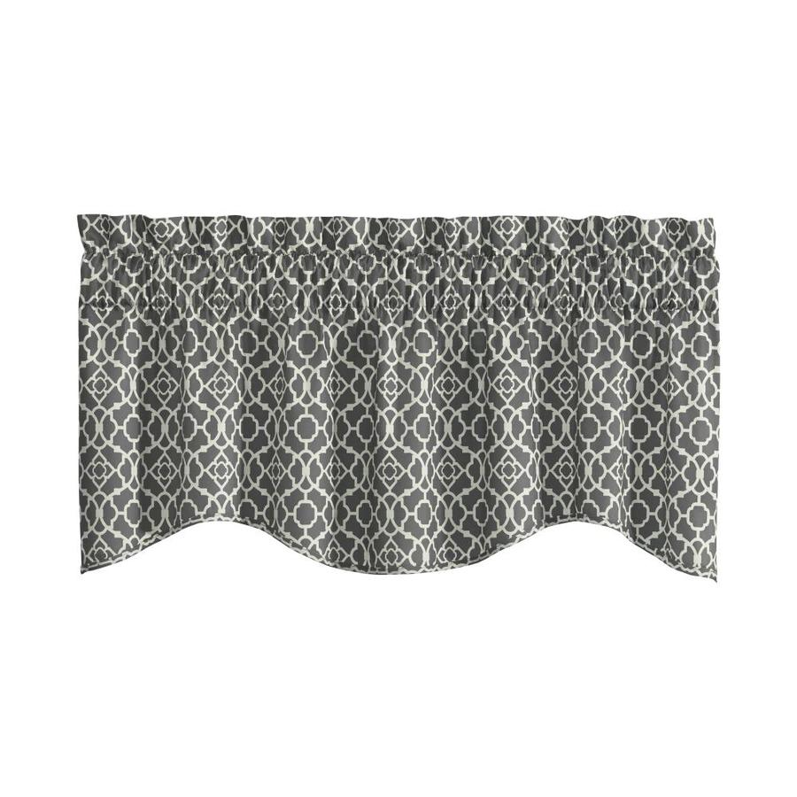 prodigious Waverly Lovely Lattice Curtain Part - 18: Waverly Lovely Lattice 16-in Gray Cotton Rod Pocket Valance