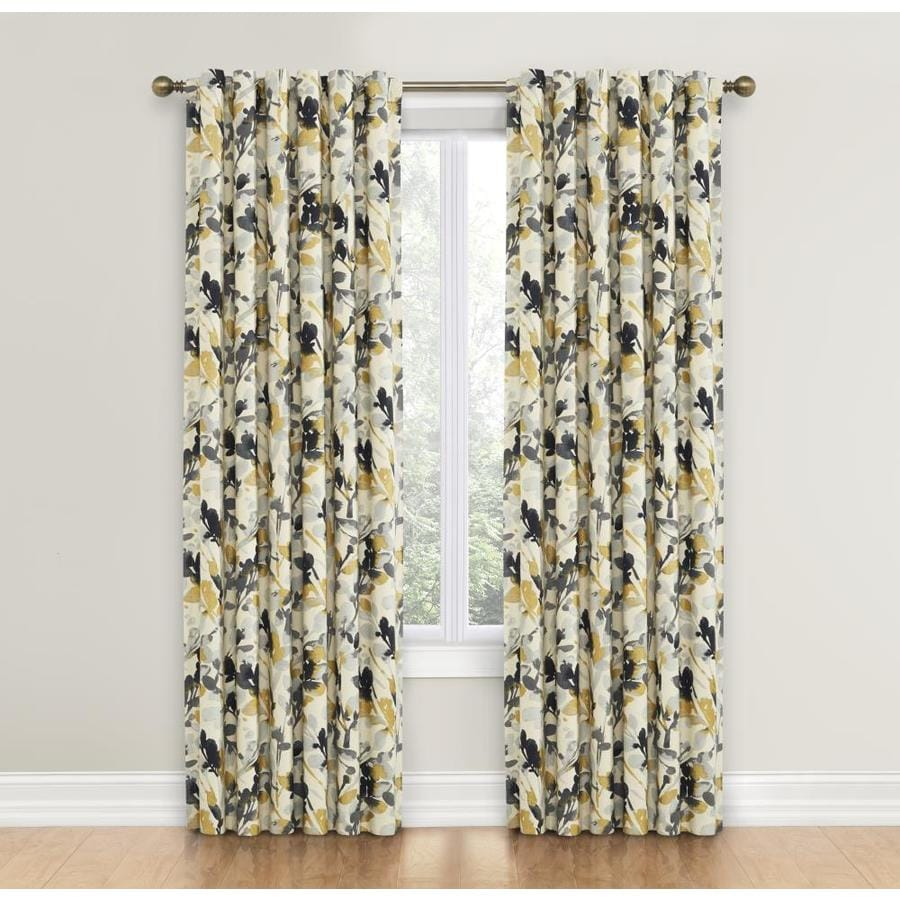 Waverly Leaf Storm 84-in Graphite Cotton Back Tab Single Curtain Panel