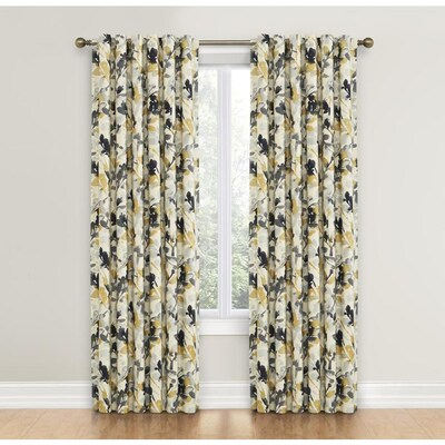Leaf Storm 84-in Graphite Cotton Single Curtain Panel