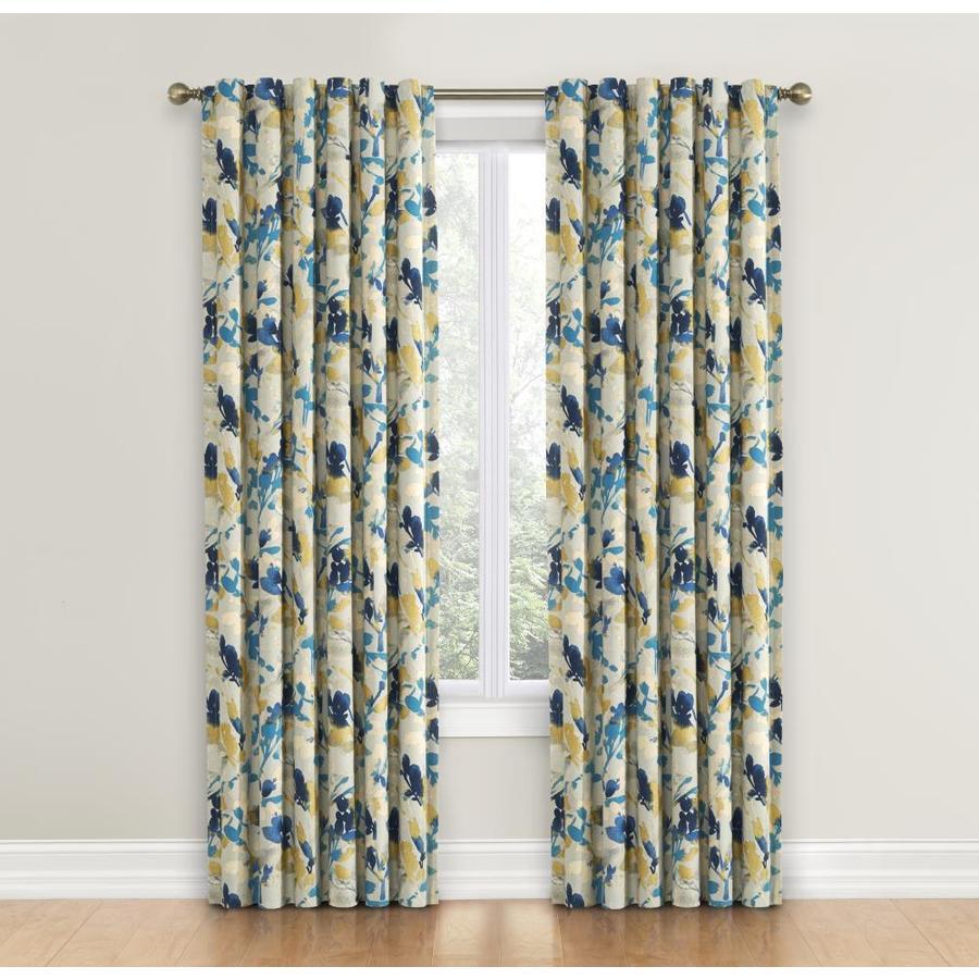 Waverly Leaf Storm 84-in Indigo Cotton Back Tab Single Curtain Panel