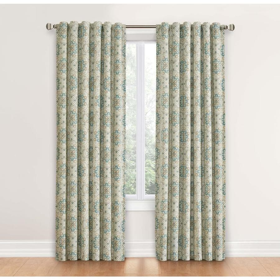 Waverly Astrid 84 In Spa Cotton Back Tab Single Curtain Panel