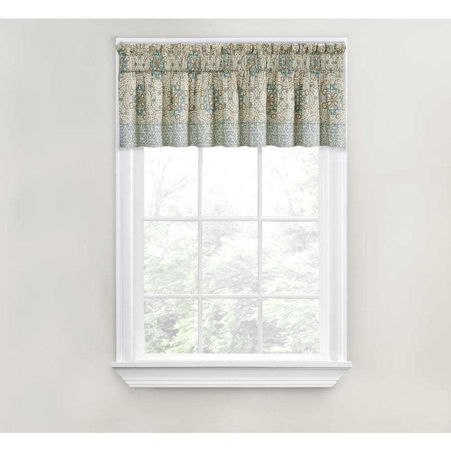 Waverly Astrid 18-in Spa Cotton Rod Pocket Valance