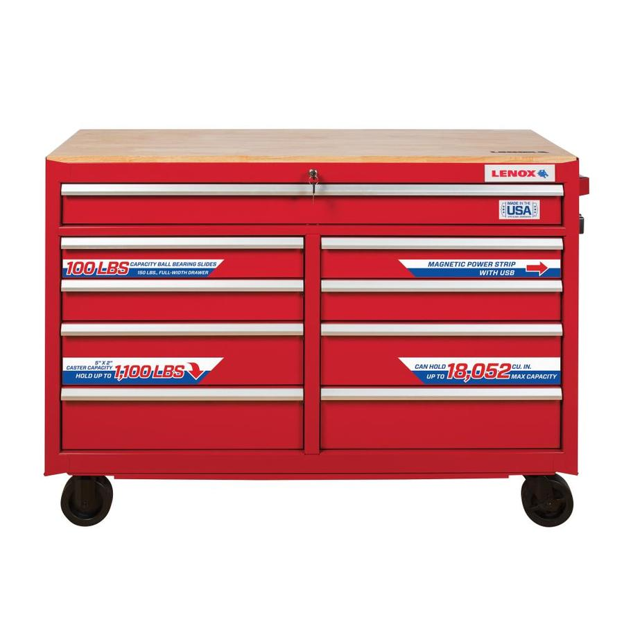 LENOX 37.5-in x 52-in 9-Drawer Ball-Bearing Steel Tool Chest (Red)