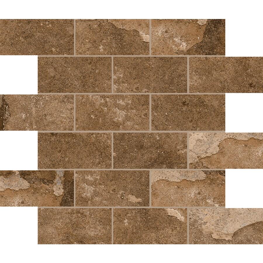 FLOORS 2000 Bridgeport Autumn Brick Mosaic Porcelain Floor and Wall Tile (Common: 12-in x 12-in; Actual: 11.81-in x 11.81-in)