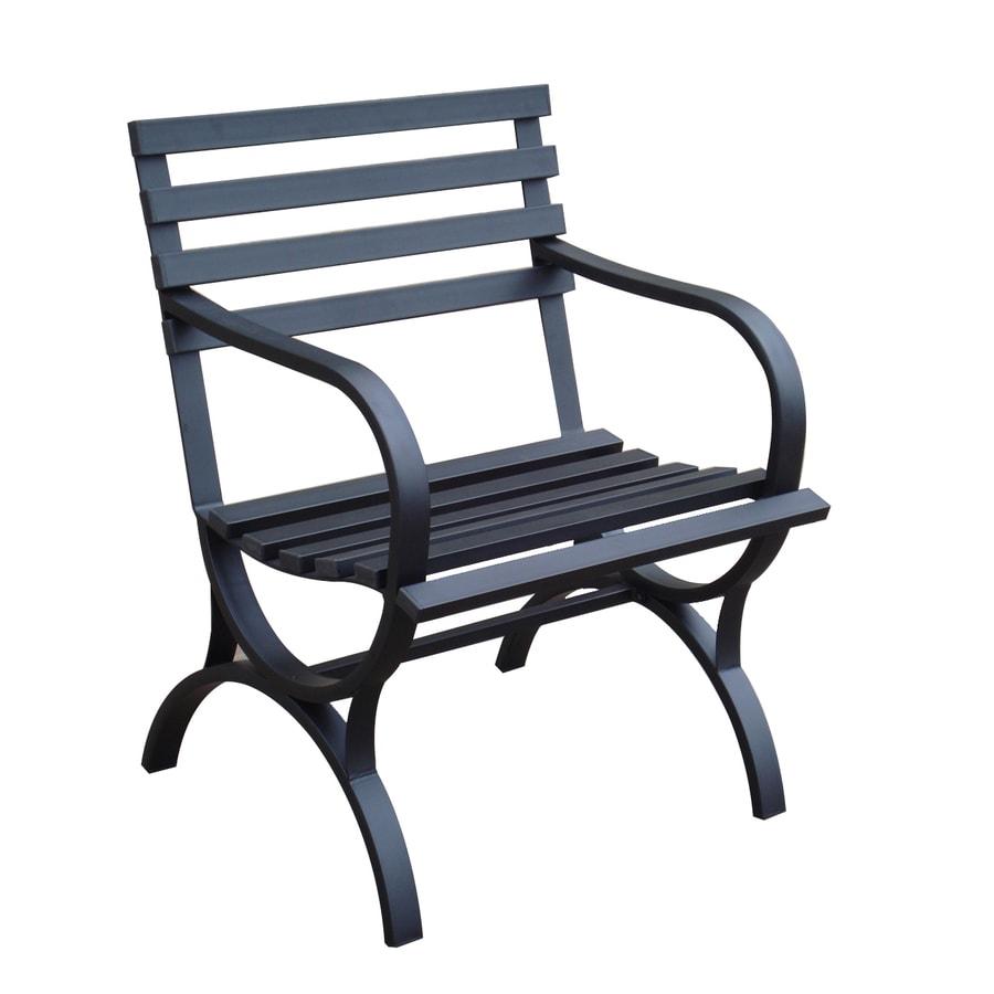 Garden Treasures 23.15-in L x 24-in D x 32-in H Steel Black Park Chair