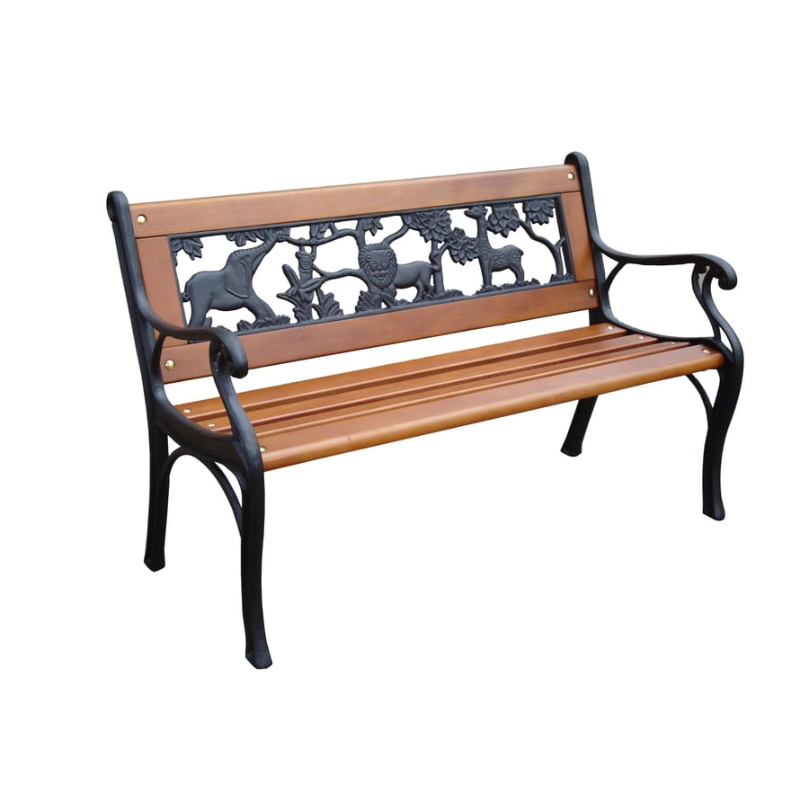 Shop garden treasures w x 32 4 in l patio bench at Wooden bench for sale