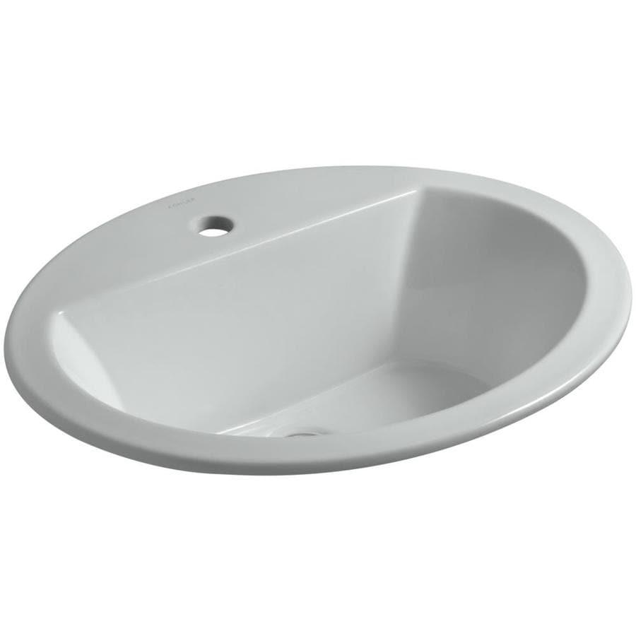 KOHLER Bryant Ice Grey Drop-in Oval Bathroom Sink with Overflow