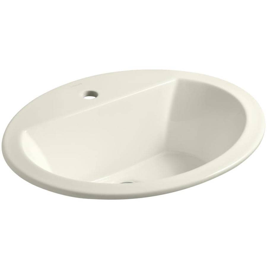 KOHLER Bryant Biscuit Drop-in Oval Bathroom Sink with Overflow