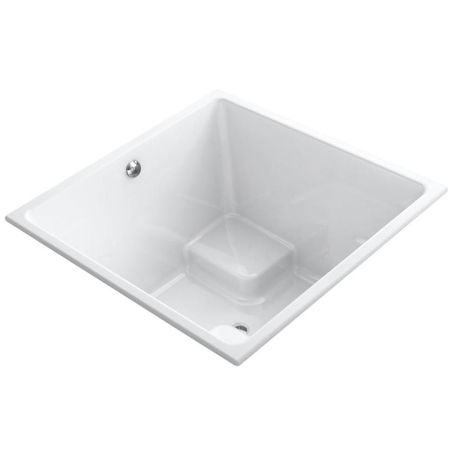 KOHLER Underscore White Acrylic Rectangular Drop-in Bathtub with Center Drain (Common: 48-in x 48-in; Actual: 34-in x 48-in x 48-in)