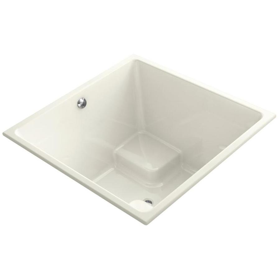 KOHLER Underscore 48-in Biscuit Acrylic Drop-In Bathtub with Center Drain