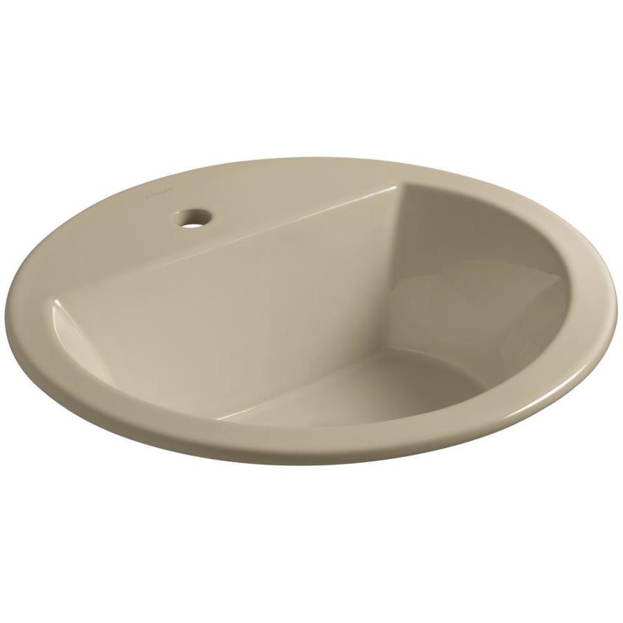 KOHLER Bryant Mexican Sand Drop-in Round Bathroom Sink with Overflow