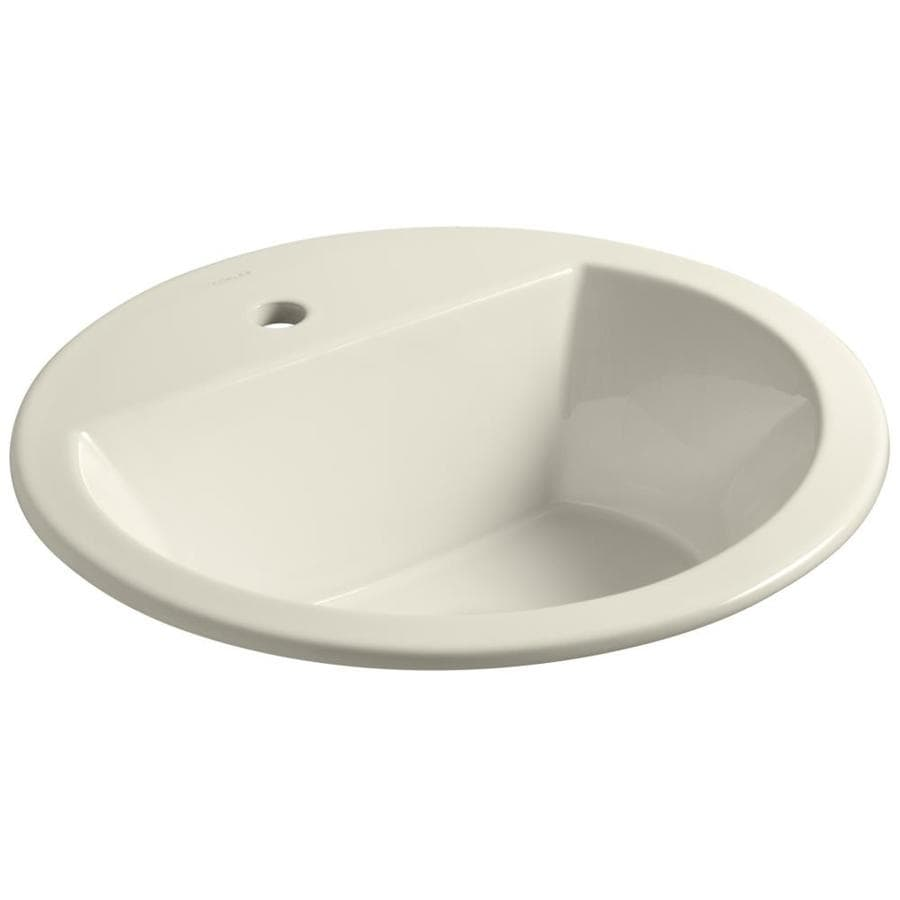 KOHLER Bryant Almond Drop-in Round Bathroom Sink with Overflow