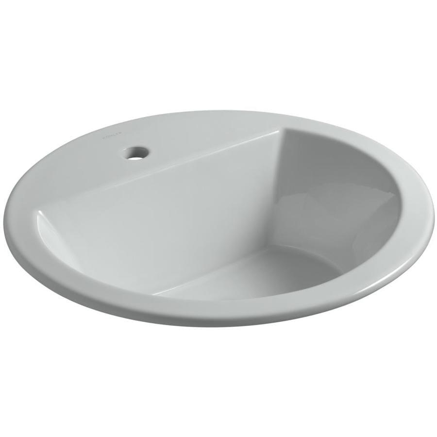 Shop kohler bryant ice grey drop in round bathroom sink for Kohler round bathroom sinks
