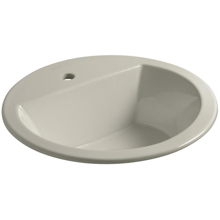 Shop kohler bryant sandbar drop in round bathroom sink for Kohler round bathroom sinks