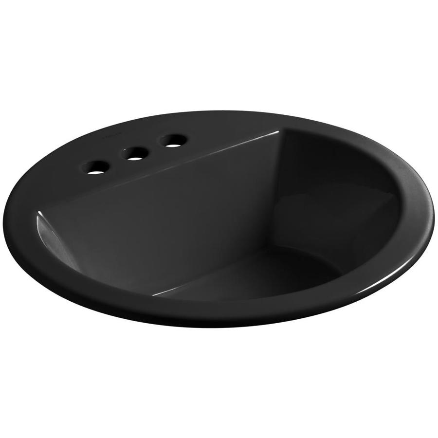 KOHLER Bryant Black Drop-in Round Bathroom Sink with Overflow
